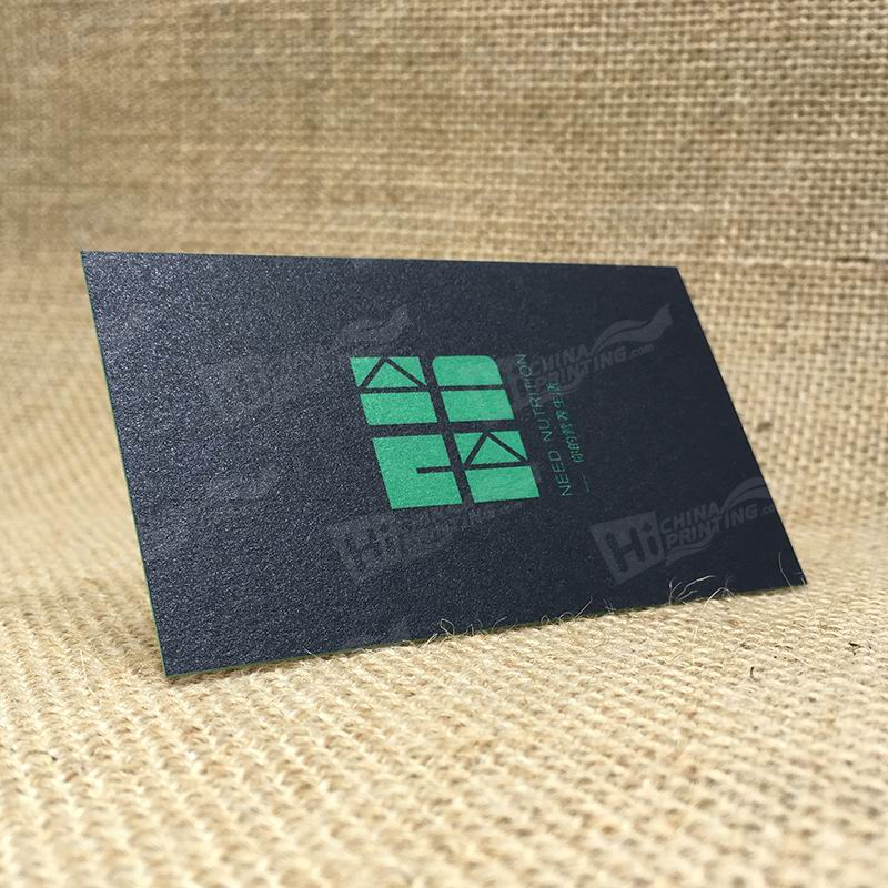 450g Black Cards With Green Pantone Colors Printing And Green Edge Printing